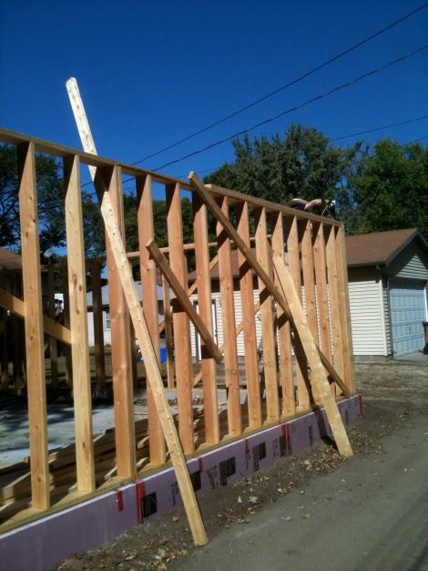 Temporary wall bracing... certainly not OSHA compliant