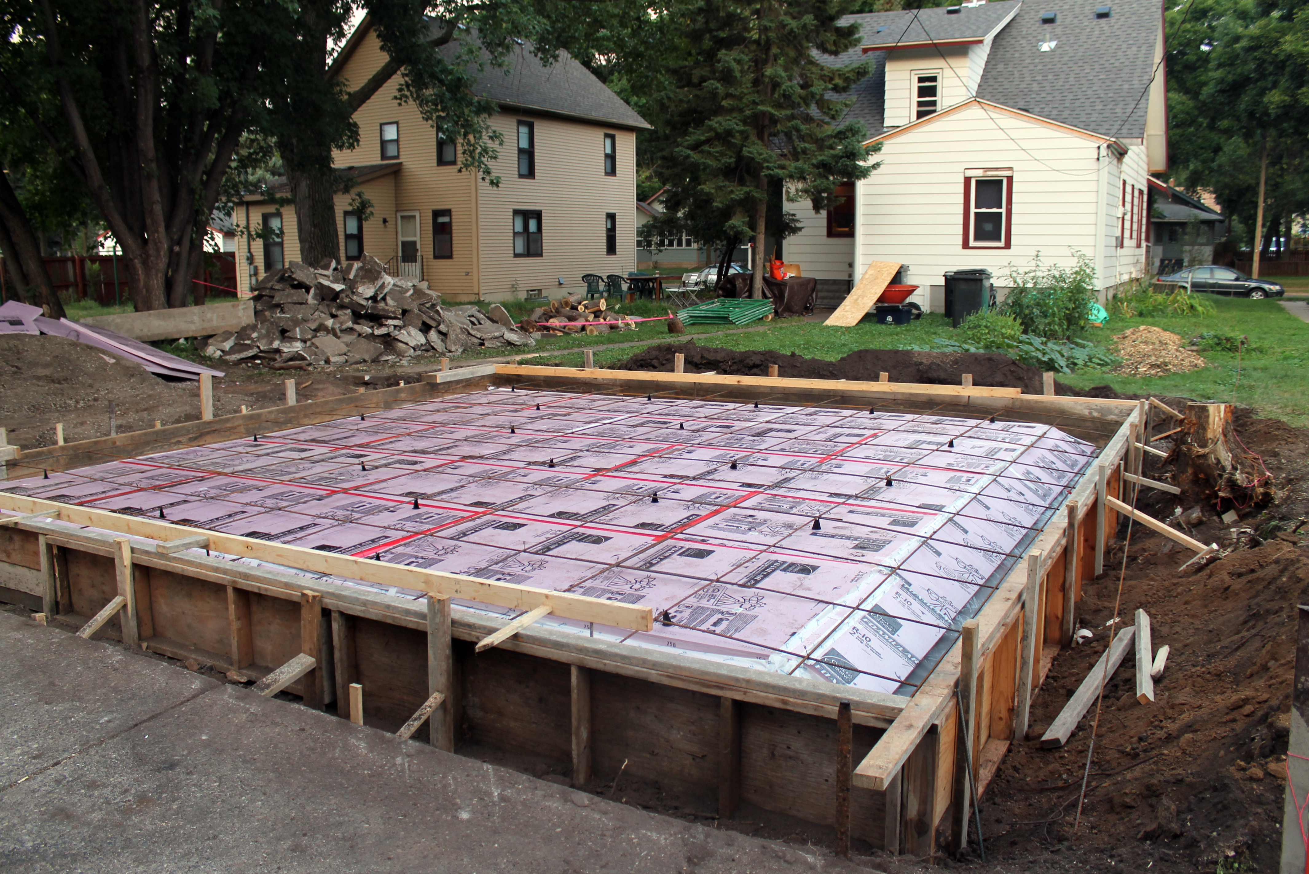 Slab demolition and pouring the new slab operation dark for Slab on grade foundation cost