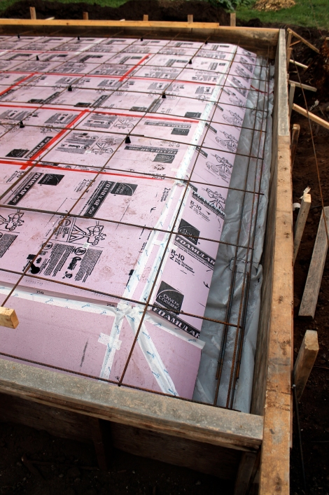 "Sub-slab rigid insulation with 3/8"" rebar 24"" o.c."